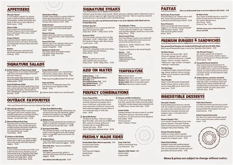 outback steak house menu image gallery outback menu