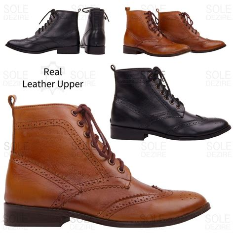 womens winter smart office leather brogue lace up