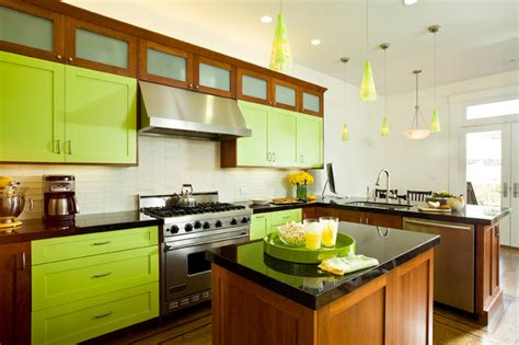 lime green kitchen cabinets bright lime green eclectic kitchen san francisco