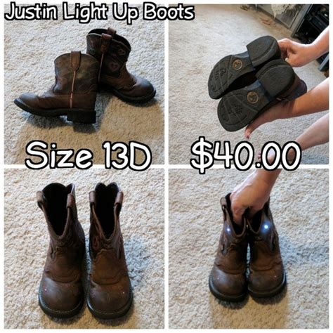 64 Justin Boots Shoes Justin Light Up
