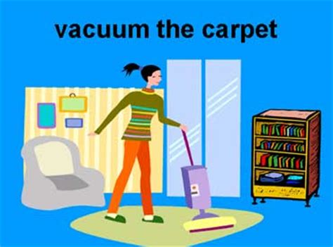 vacuum the carpet household chores lesson page 4