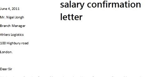 Confirmation Letter With Salary Salary Confirmation Letter