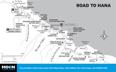 printable road to hana map map of the road to hana hawaii
