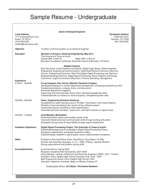 Resume Sample Format For Undergraduate by Ut Austin Resume Resume Ideas