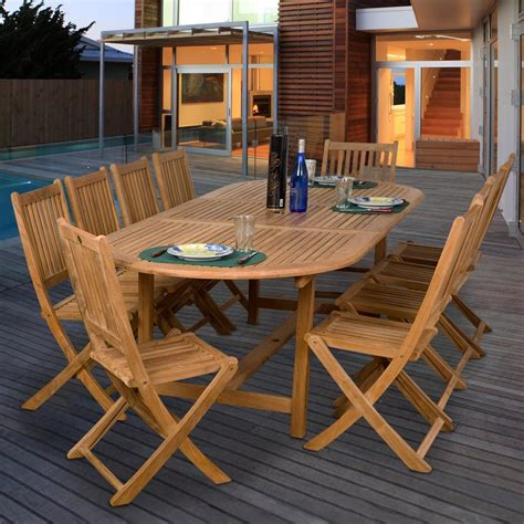 10 Person Patio Table Amazonia Teak Bergen 10 Person Teak Patio Dining Set With Extension Table And Folding Chairs