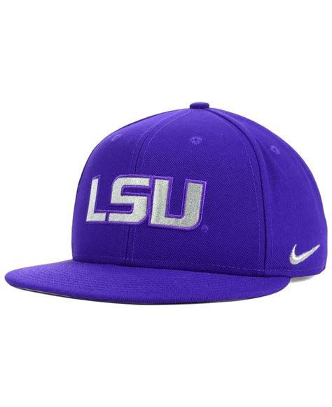 nike lsu tigers snapback cap in purple for lyst