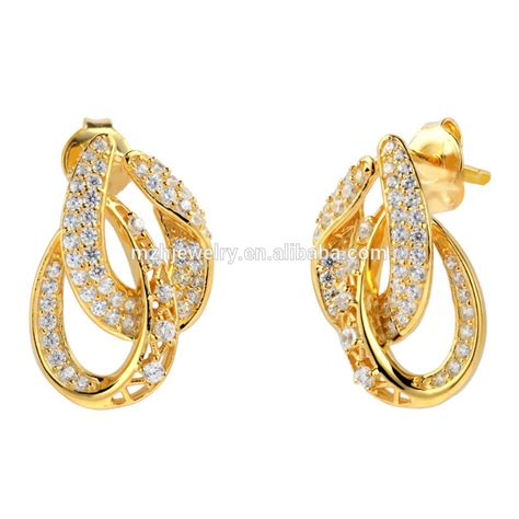 Gold Stud Earrings saudi gold jewelry 18k solid gold earring unique design