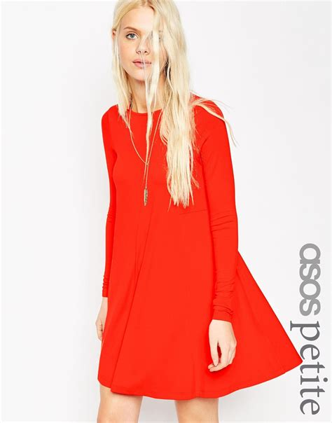 asos petite swing dress asos petite swing dress with long sleeves and seam detail