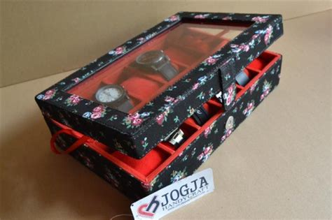 Isi 100 Pcs Kotak Box Jam Tangan Dus Packing Bantal 1 floral black box for 12 pcs watches kotak jam