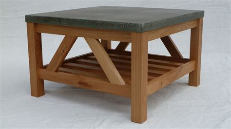 concrete top coffee table handmade alder coffee table with concrete top by