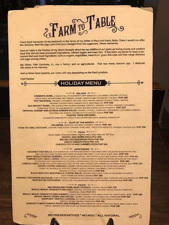 farm to table menu ideas farm to table iloilo city restaurant reviews photos