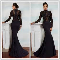 Spring black mermaid prom dresses lace appliqued beaded high neck