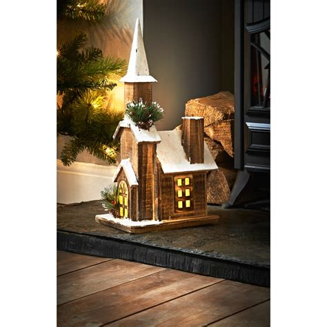 light  wooden church christmas decorations bm
