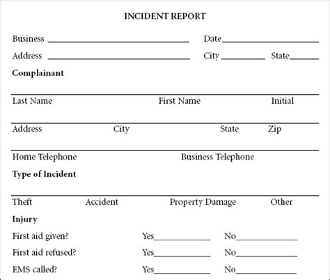 10 Incident Report Templates Word Excel Pdf Formats Incident Report Form Template