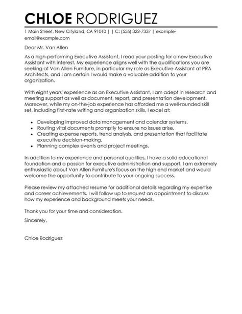 executive assistant cover letter examples