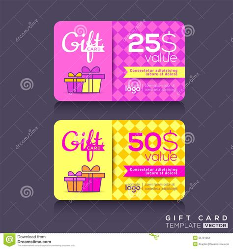 graphic design gift card template colorful gift card design template stock vector image