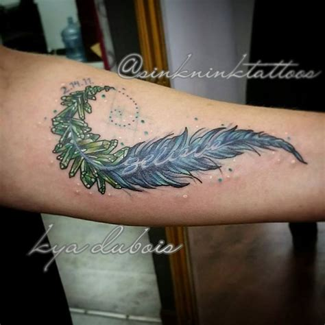 feather memorial tattoo feather and crystal memorial tattoo fibonacci spiral
