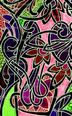 Phb48 Batik Printing 0192 contemporary stained glass pink and lime fabric edsel2084 spoonflower