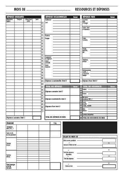 Modèle de feuille à imprimer pour budget   vie de l