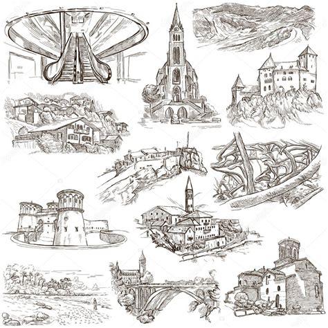architektur skizzen zeichnen architektur faous orte freihand skizzen stockfoto
