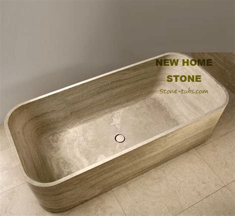 travertine designer soaking tub rectangular luxury bathtub