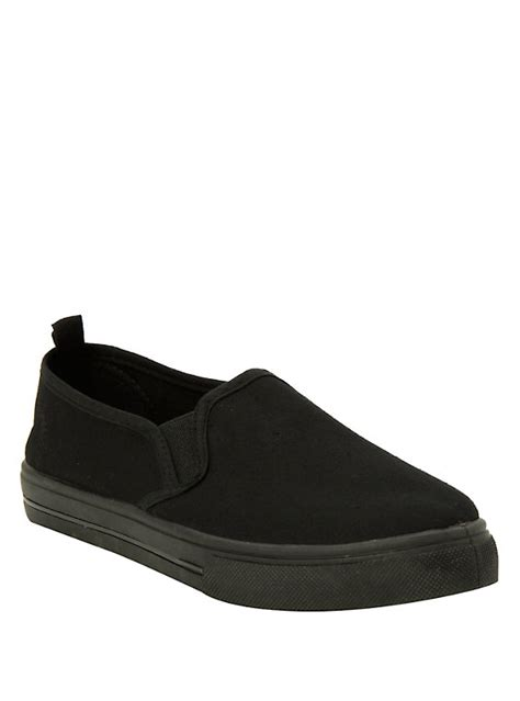 topic shoes solid black slip on shoes topic
