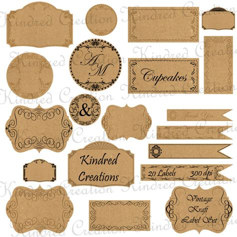 used the same paper as the food tags to make these watter bottle vintage kraft paper labels monogram tags circle frame