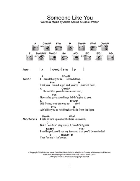 testo some like you someone like you sheet by adele lyrics chords