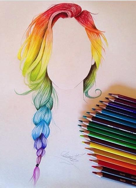 hairstyles color drawing rainbow hair drawing color hair was so fun to draw
