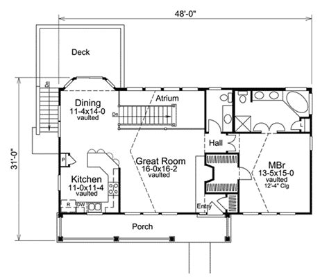 atrium ranch floor plans economical atrium ranch home plan 57239ha 1st floor