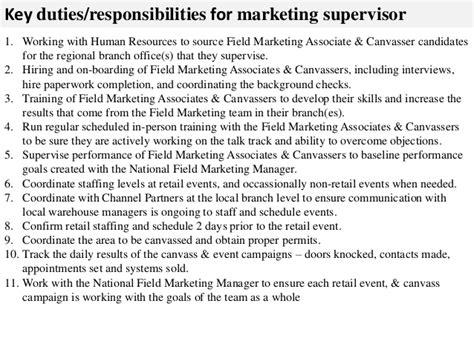 List Of Job Descriptions For Resume by Marketing Supervisor Job Description