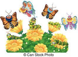 giardino farfalle farfalle giardino illustrazione