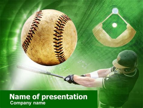 Baseball Hit Powerpoint Template Backgrounds 00507 Poweredtemplate Com Baseball Powerpoint Template Free