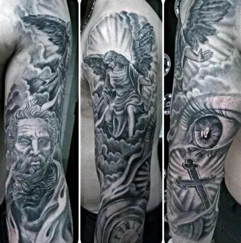 religious tattoo designs for men arms and god religious males sleeves