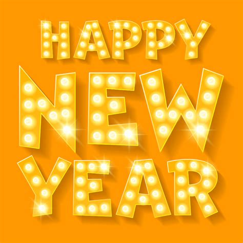 new year and yellow happy new year yellow neon vector vector festival free