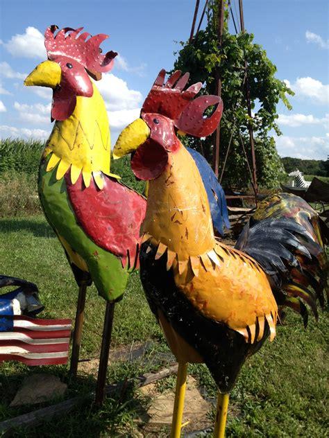 large metal rooster yard art sculpture