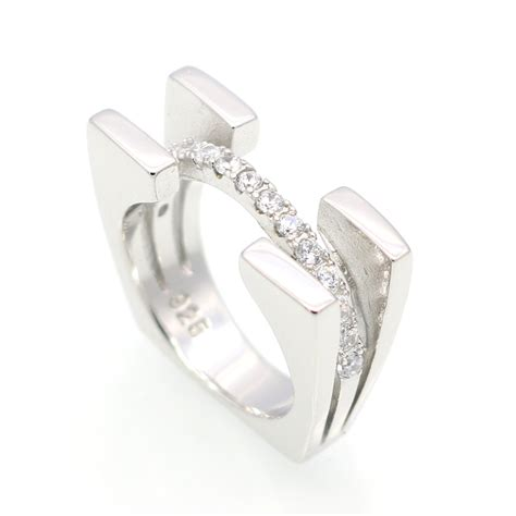 platinum filled 925 sterling silver ring and cubic