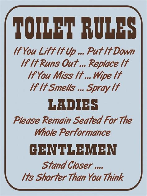 vintage retro style toilet rules funny bathroom metal sign