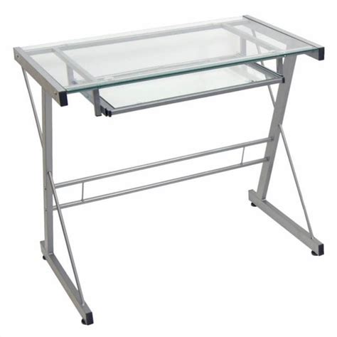 Small Glass Computer Desk Walker Edison Small Glass Top Computer Desk In Silver D31s29