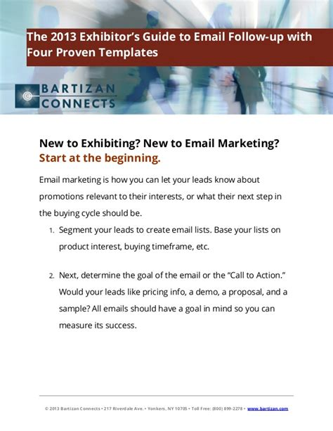 the 2013 exhibitor s guide to email follow up with four