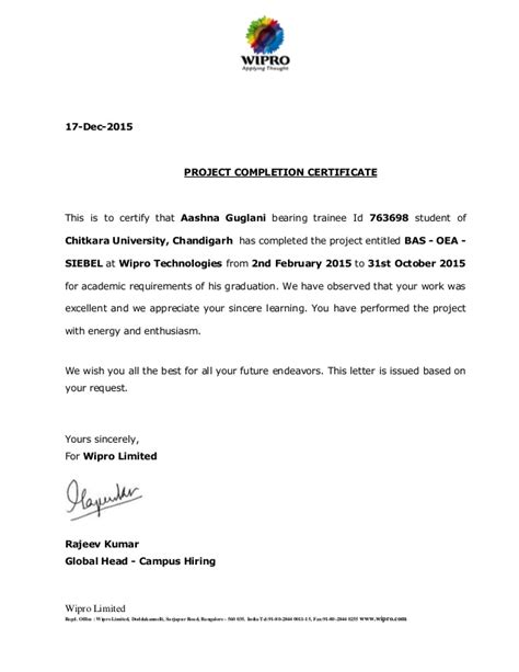 appointment letter format wipro wipro experience letter