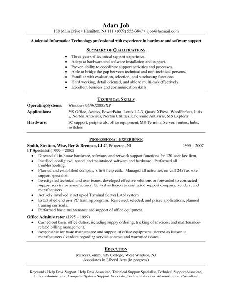 Service Desk Technician Cover Letter by Fresh Service Desk Technician Sle Resume Resume Daily