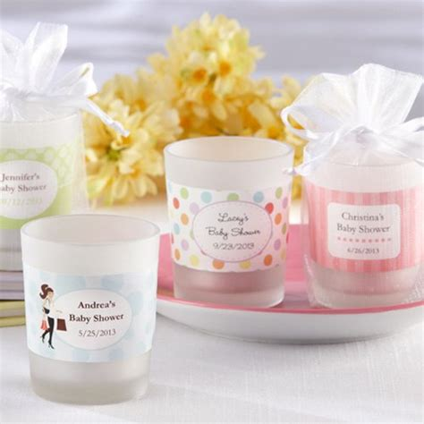 candle baby shower favors personalized frosted glass votive baby shower candle favor
