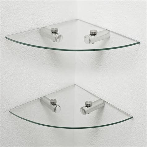 Bathroom Glass Corner Shelves Wilko Glass Corner Shelves 2pk At Wilko