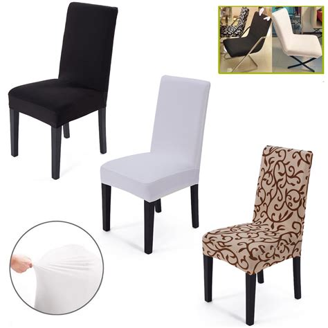 Elasticated Dining Chair Seat Covers 2x Removable Elastic Stretch Slipcovers Dining Room Chair Seat Cover Decor