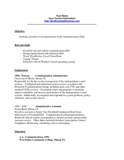 Cv In Communication Skills Resume 2016 Skills Based Resume Exles 2016