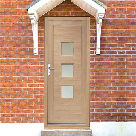 Turin Exterior Oak Door And Frame Set With Obscure Double Oak Front Door And Frame
