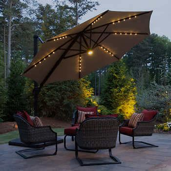 Costco Offset Patio Umbrella by 11 Led Solar Offset Umbrella By Seasons Sentry 174
