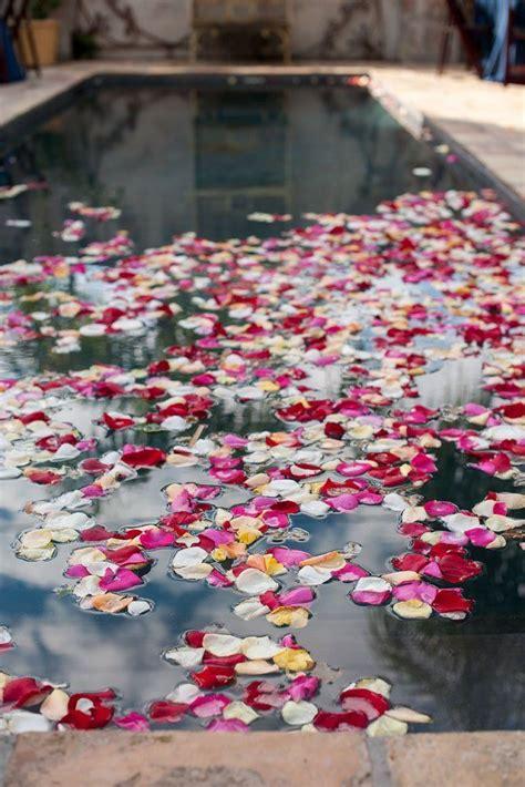 Petals Kelopak Bunga Mawar Palsu pernikahan pinggir kolam bakal indah dan berkesan kalau kamu terapkan 17 dekorasi unik ini