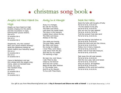 printable christmas songbook 5 best images of printable christmas carol booklet free